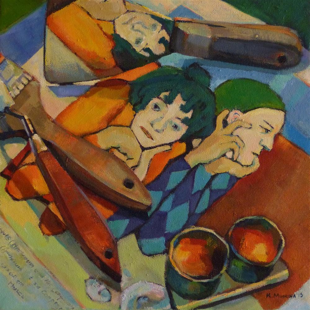 """Master Class with Harlequin"" original fine art by Katya Minkina"