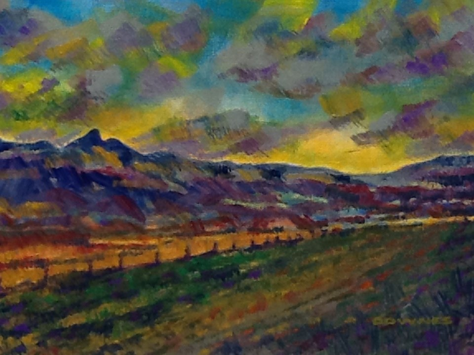 """080 MOUNT WARNING 13"" original fine art by Trevor Downes"