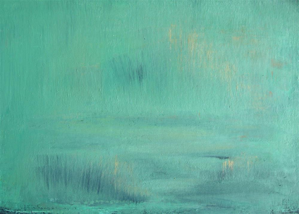 """Foggy Green Abstract"" original fine art by Alina Frent"