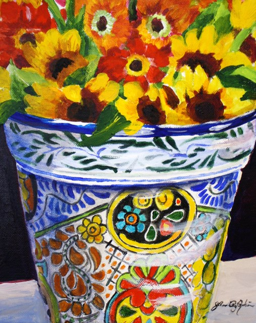 """Mexican Pottery with Sunflowers"" original fine art by JoAnne Perez Robinson"