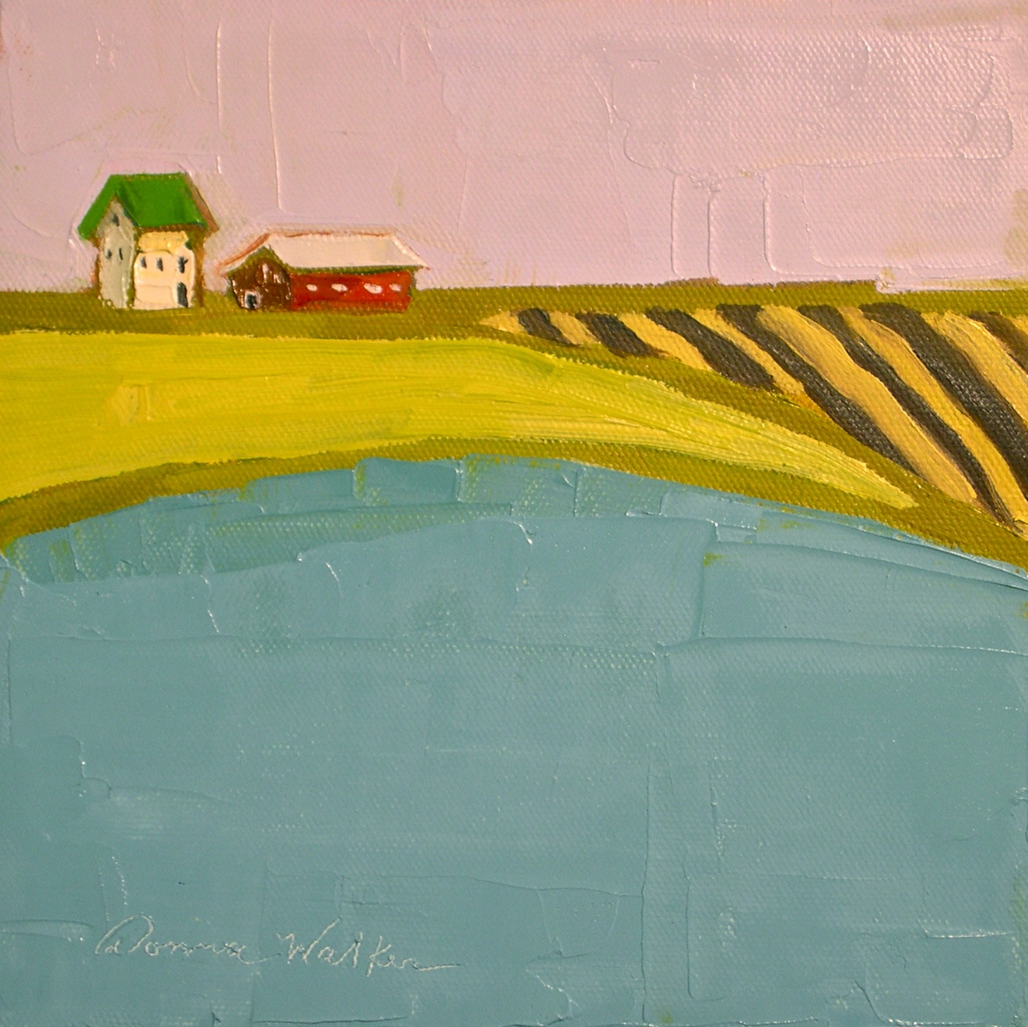 """Striped Fields & Aqua"" original fine art by Donna Walker"