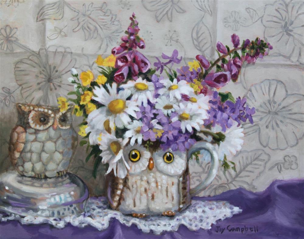 """""""An Owl's Spring Bouquet"""" original fine art by Joy Campbell"""