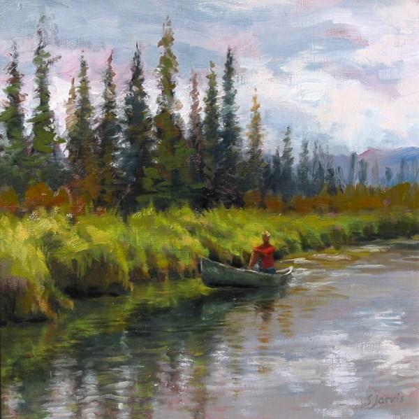 """""""Canoeing in Banff"""" original fine art by Susan N Jarvis"""