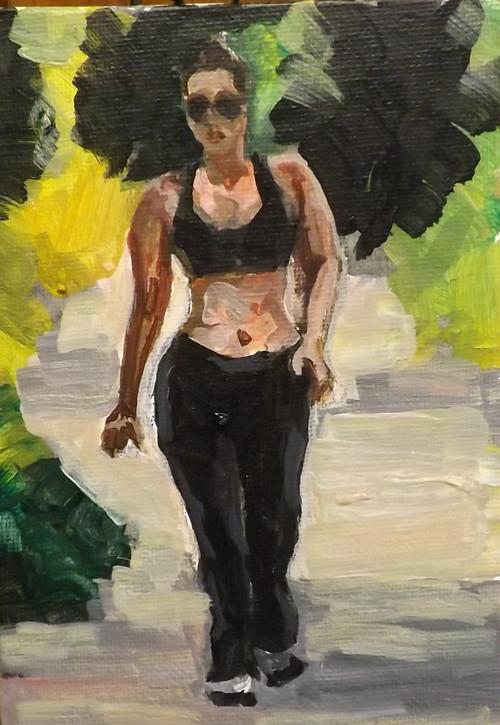 """Walking,U22"" original fine art by Run-      Zhang Zane"