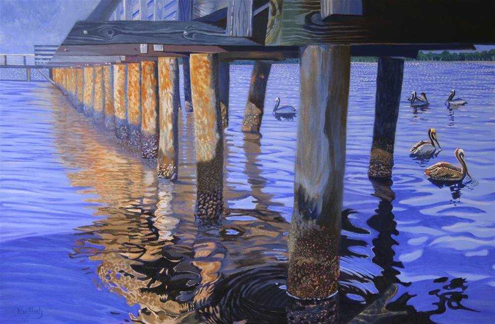 """Pier & Pelicans"" original fine art by Alan Mintz"