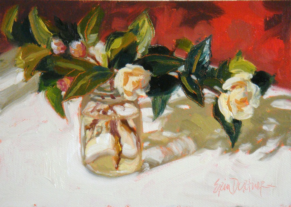 """Blushing Camellias"" original fine art by Erin Dertner"