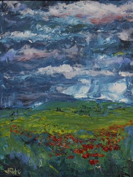 """Wild Poppies, Wild Sky"" original fine art by Jana Johnson"