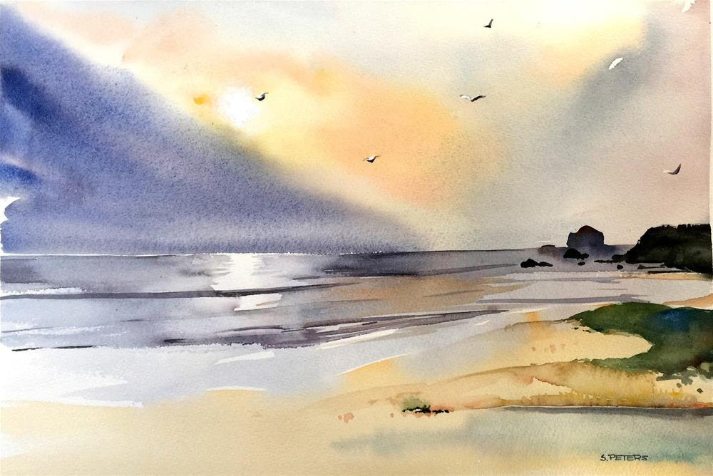 """Golden Dawn at Narooma Beach"" original fine art by Shirley Peters"