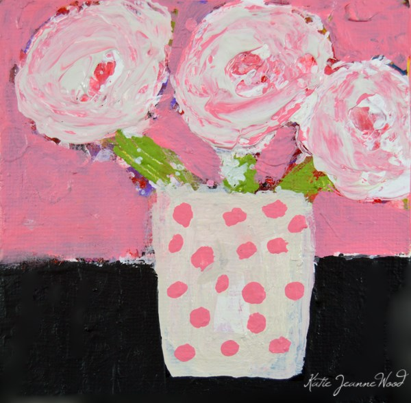 """""""White and Pink Cottage Chic Roses Floral Painting No 96"""" original fine art by Katie Jeanne Wood"""