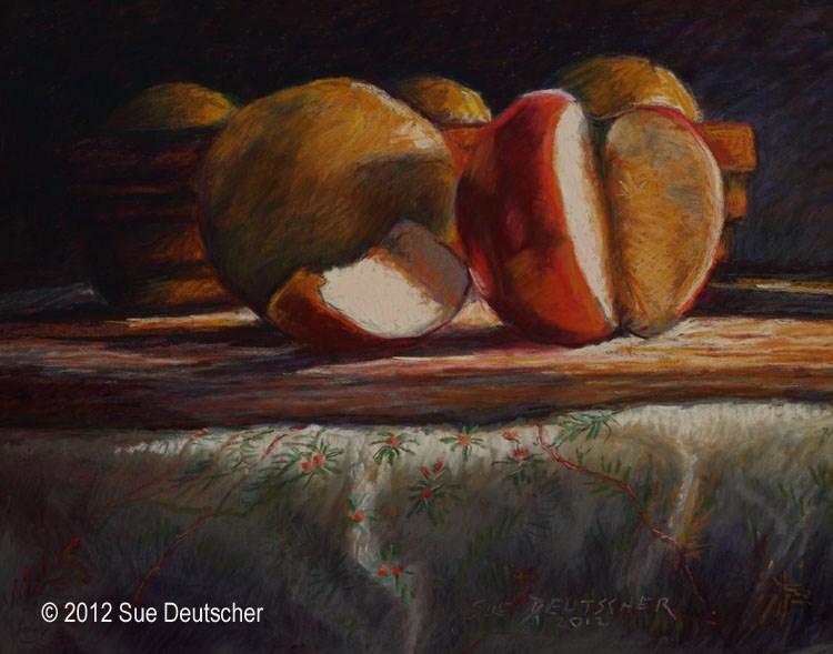 Apple and Grapefruit Still Life original fine art by Sue Deutscher