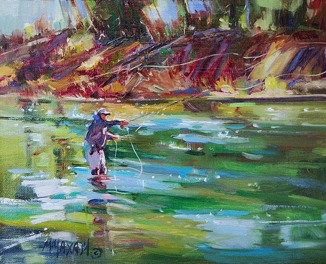 """Sam On The Upper Madison"" original fine art by Mary Maxam"