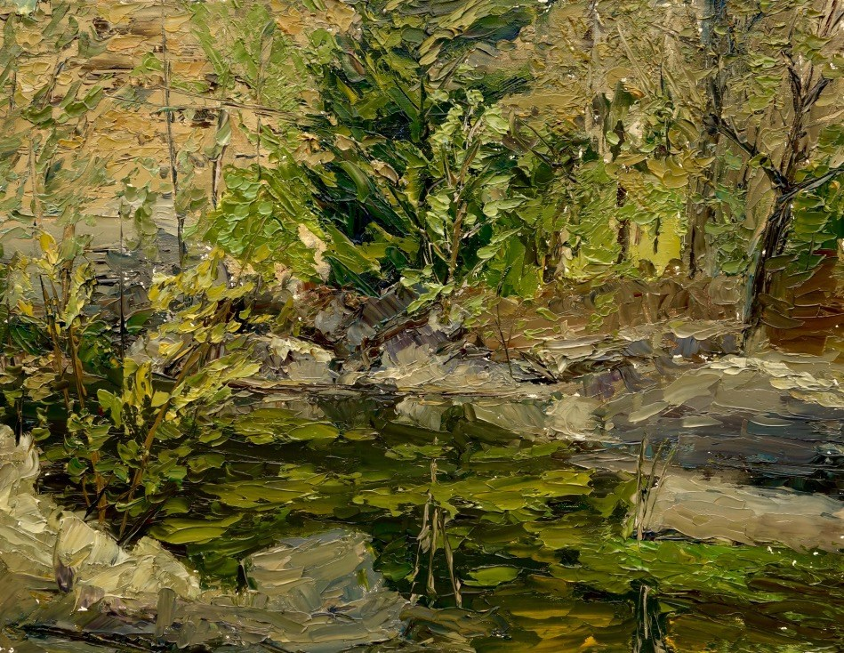 """Quarry Pond en Plein air"" original fine art by Daniel Fishback"