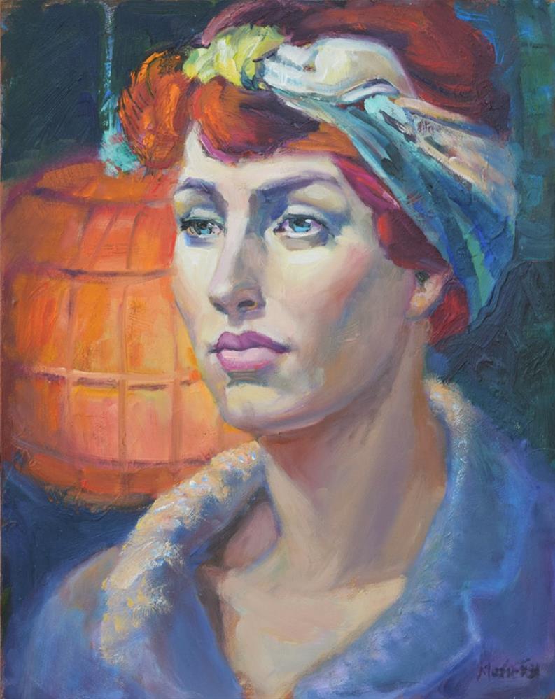 """Orange Lantern, figurative oil painting of woman with head scarf, contemporary figure painter, femal"" original fine art by Marie Fox"