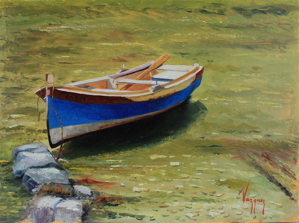"""Floating boat "" original fine art by Marco Vazquez"
