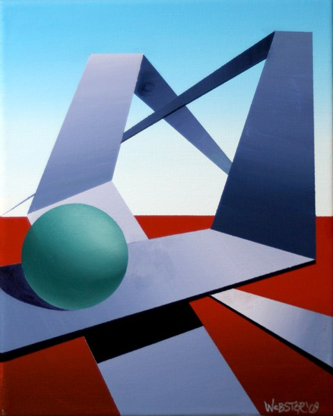 """Mark Webster - Abstract Geometric Sphere Track #2 Painting"" original fine art by Mark Webster"
