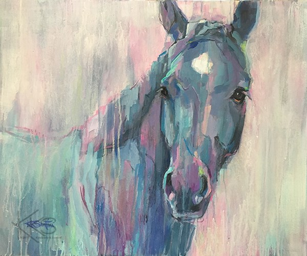 """""""The black horse is a uniquely powerful amulet"""" original fine art by Kimberly Santini"""
