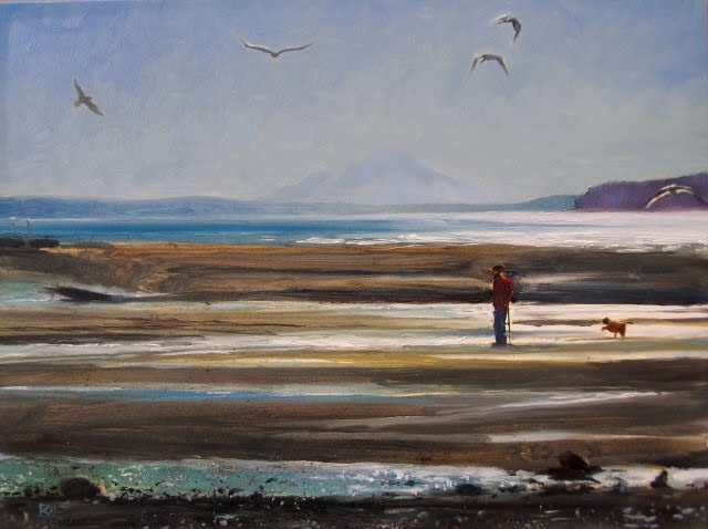 """Beach Hiking figure with dog on Lagoon beach, Pacific Northwest"" original fine art by Robin Weiss"