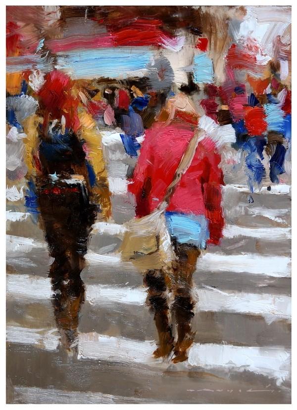 """Urban Scene"" original fine art by Angel Angelov"