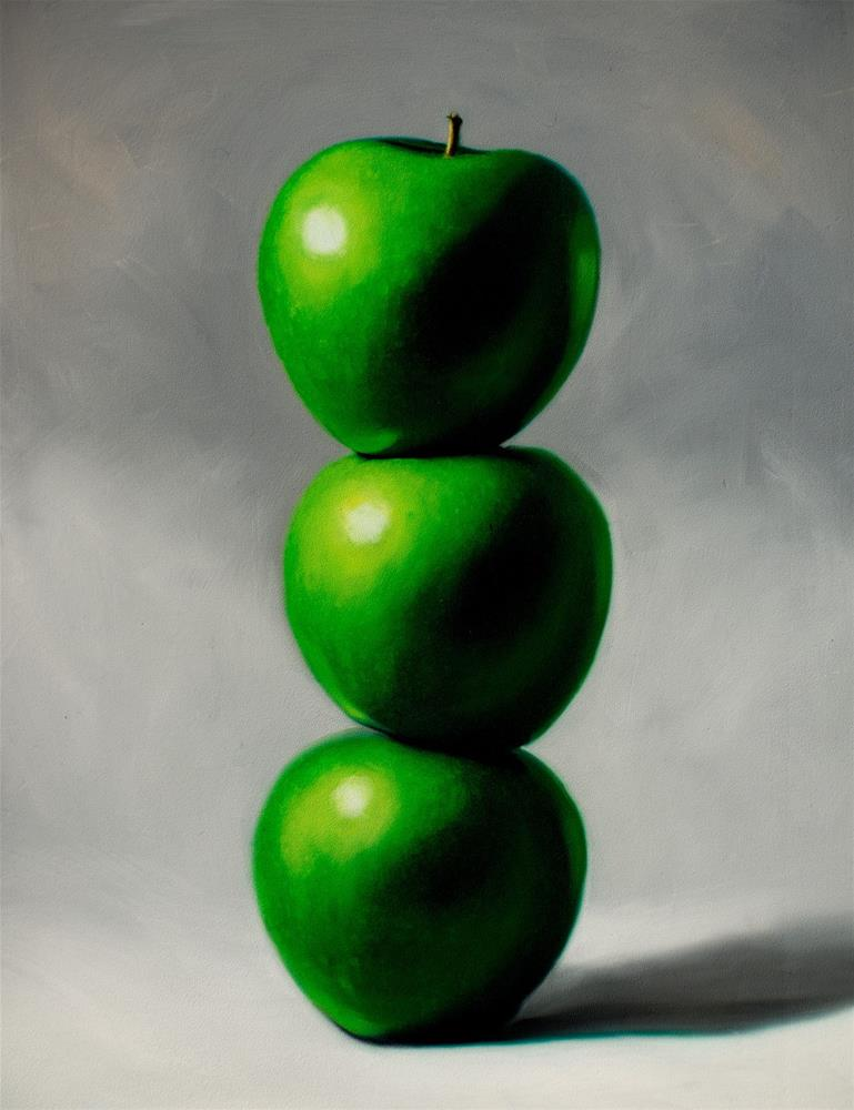 """Apple Trio Tower"" original fine art by Lauren Pretorius"