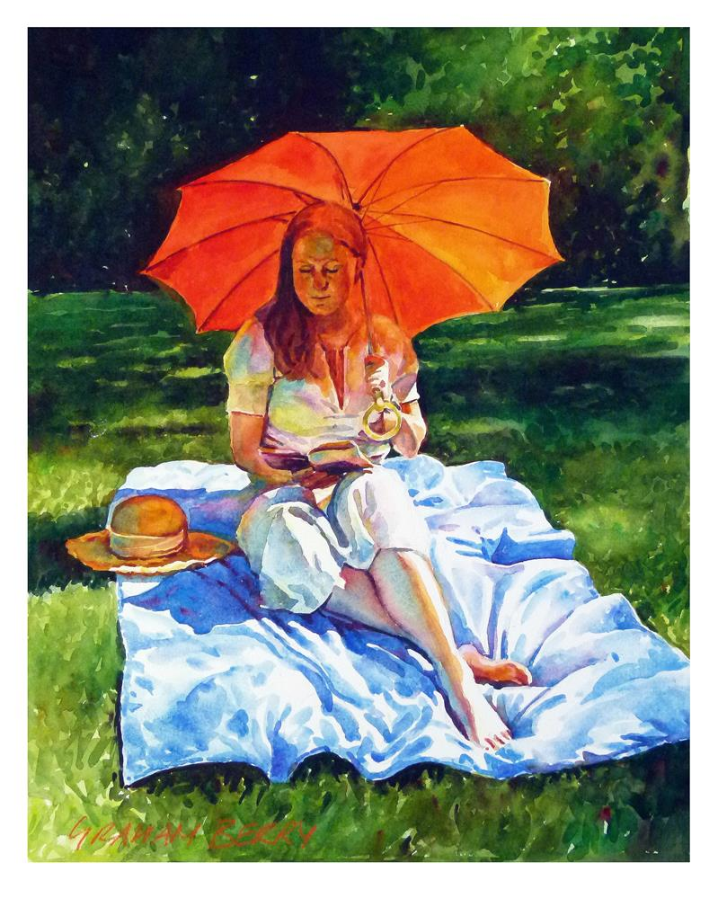 """Red parasol"" original fine art by Graham Berry"