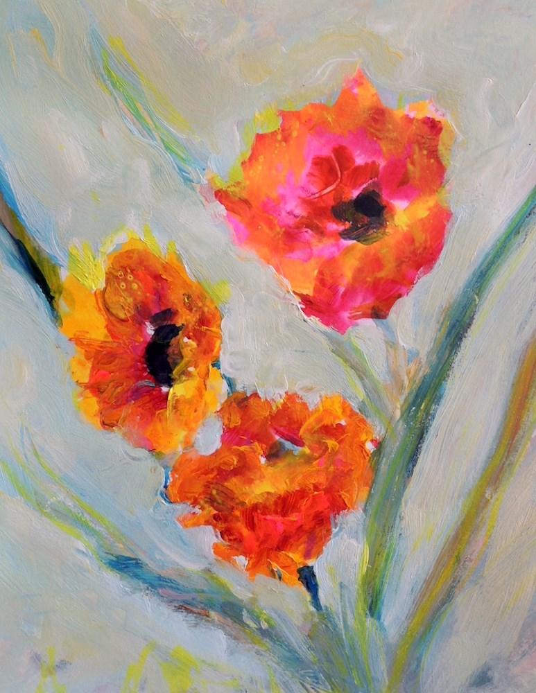 """Three Shades of Orange"" original fine art by Mary Schiros"