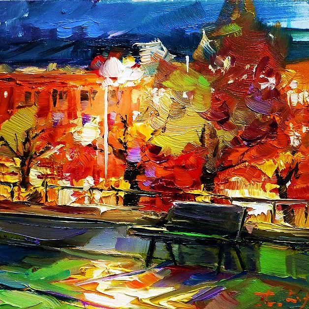 """""""Stadtallee"""" original fine art by Jurij Frey"""