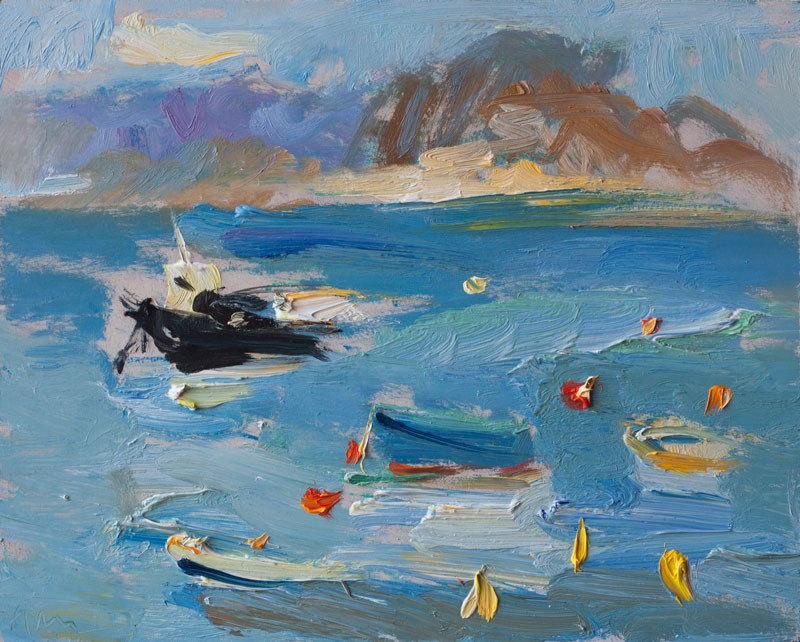 """Mediterranean Sea and Boats"" original fine art by Anna  Fine Art"