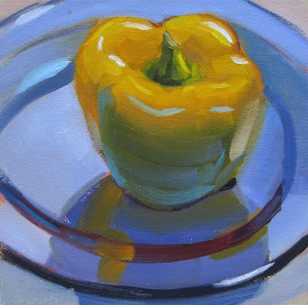 """Yellow Pepper on Blue Glass Plate"" original fine art by Robin Rosenthal"