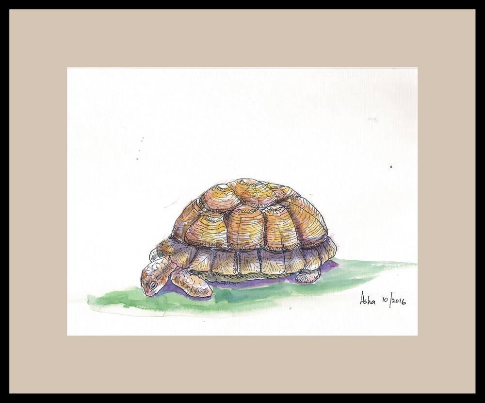 """Life so slow is tough!"" original fine art by Asha Shenoy S"