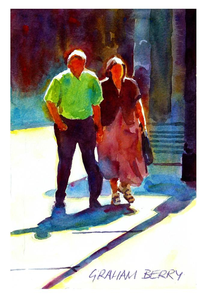 """Couple walking in the sun."" original fine art by Graham Berry"