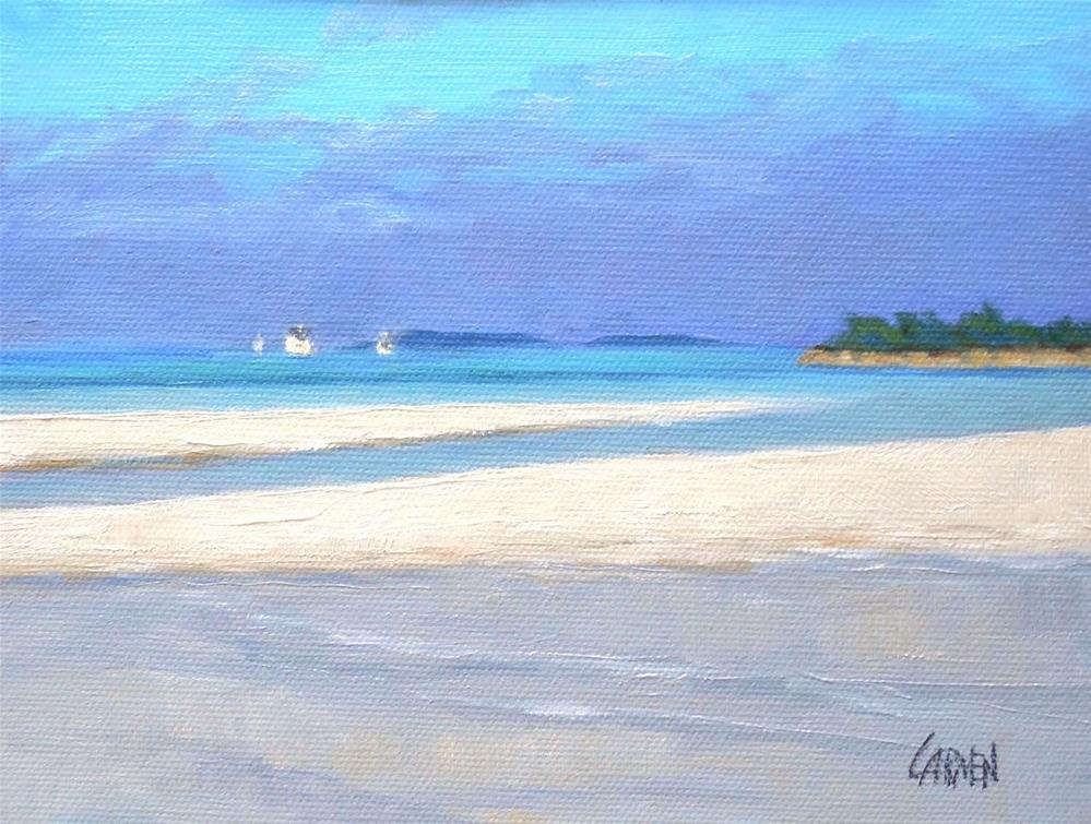 """Tahiti Beach, 8x6 Oil on Canvas Panel, Elbow Cay, Abacos Islands Seascape"" original fine art by Carmen Beecher"