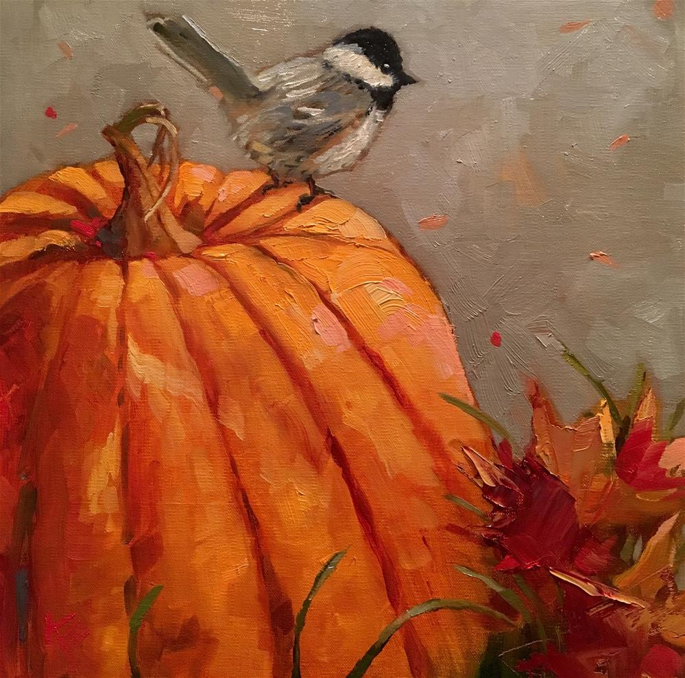 """Pumpkin & Chickadee"" original fine art by Krista Eaton"