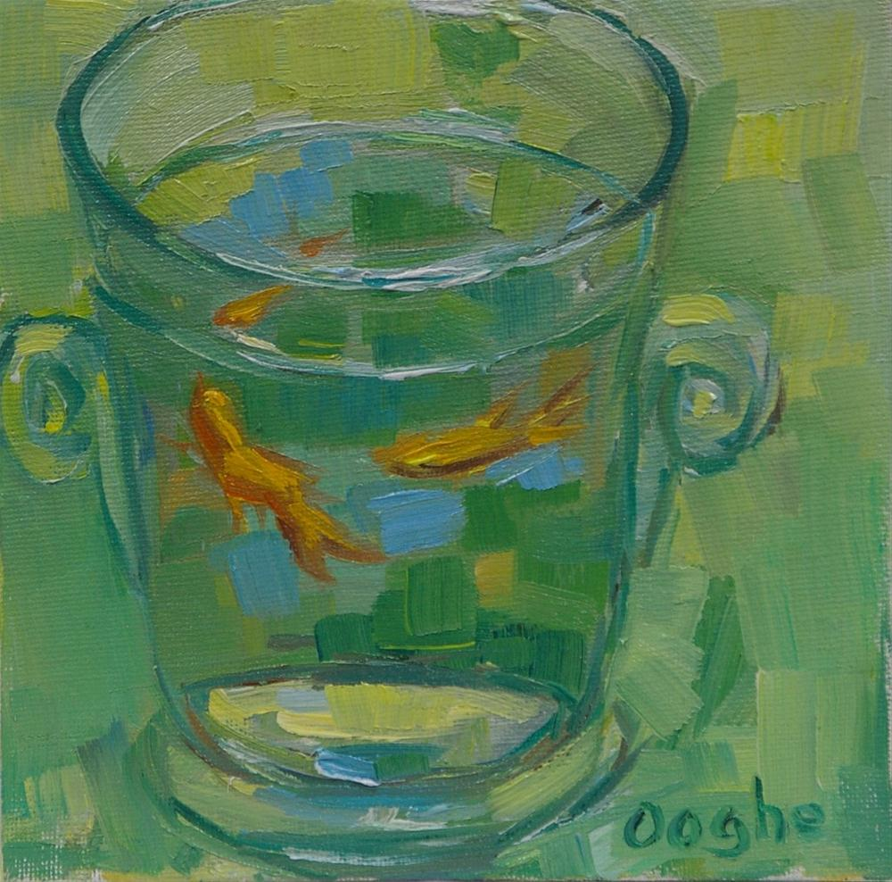 """Goldfish on Green"" original fine art by Angela Ooghe"