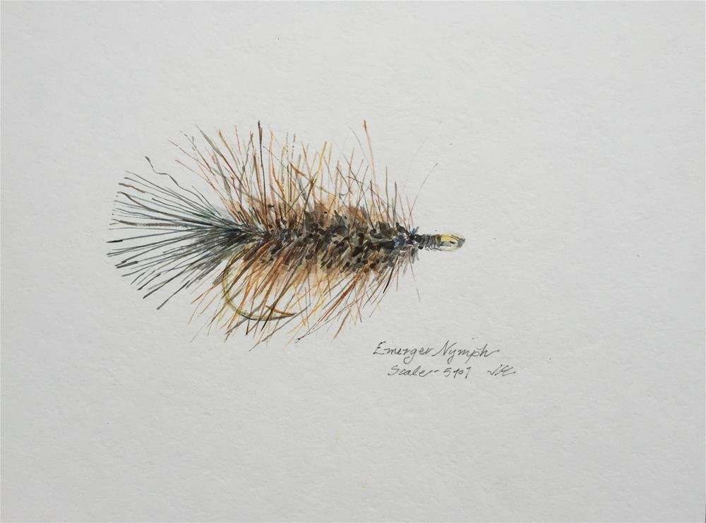 """Trout Fly - Emerger Nymph"" original fine art by Jean Krueger"