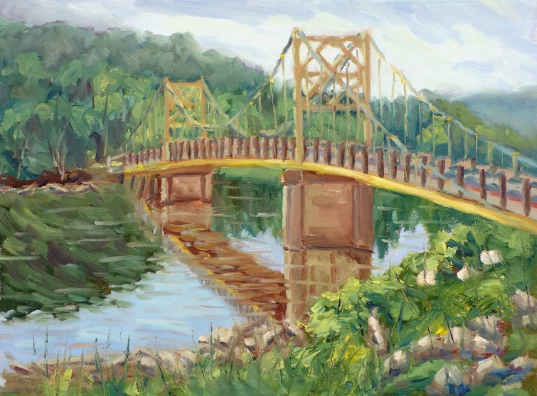"""One Lane Bridge en Plein air"" original fine art by Daniel Fishback"