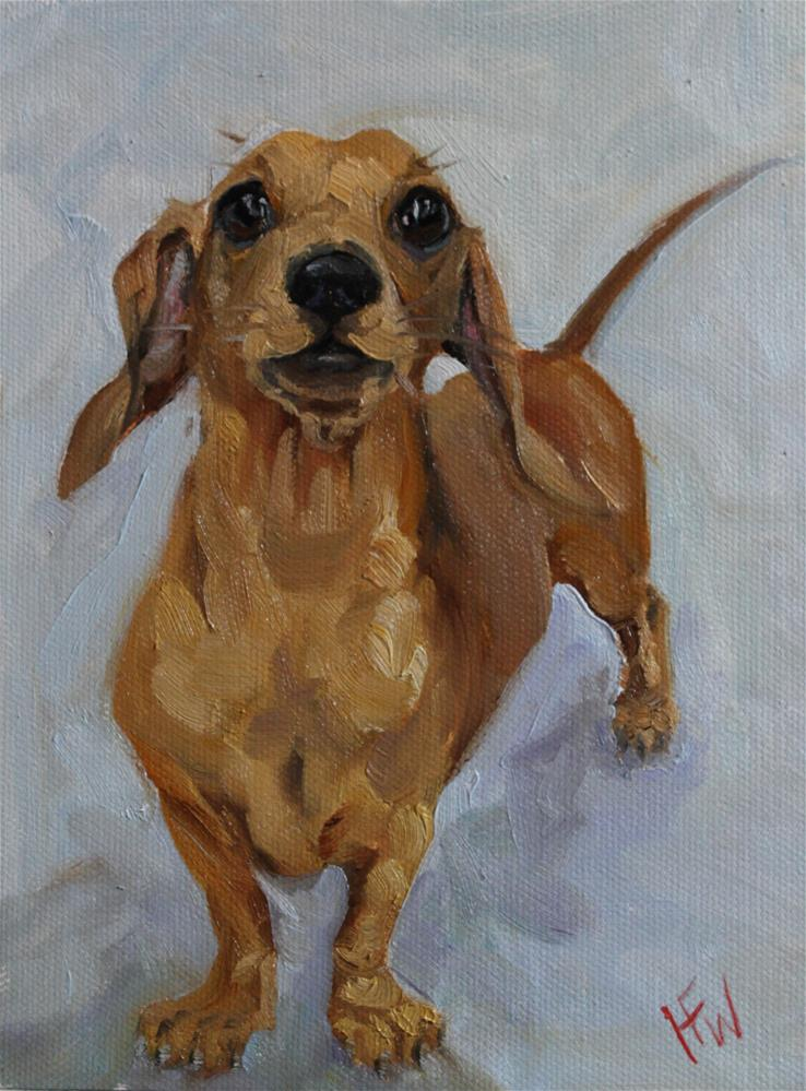 """Cheeky Dachshund"" original fine art by H.F. Wallen"