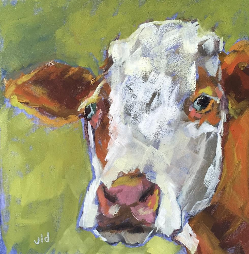 """Cow 68 I'M DELIGHTED"" original fine art by Jean Delaney"