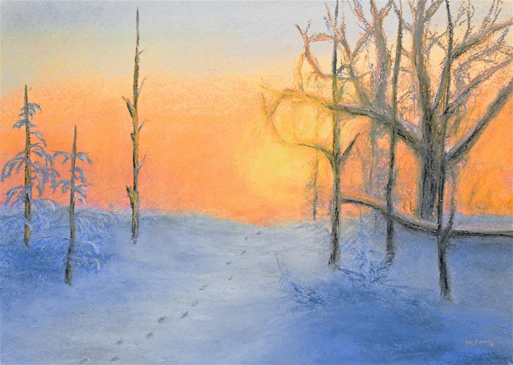 """Winters Sunset"" original fine art by Ken Figurski"