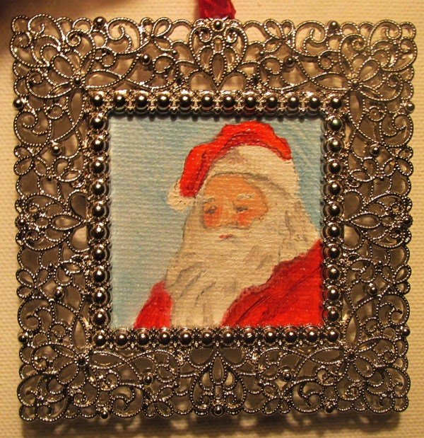 """Santa Ornament"" original fine art by Ruth Stewart"