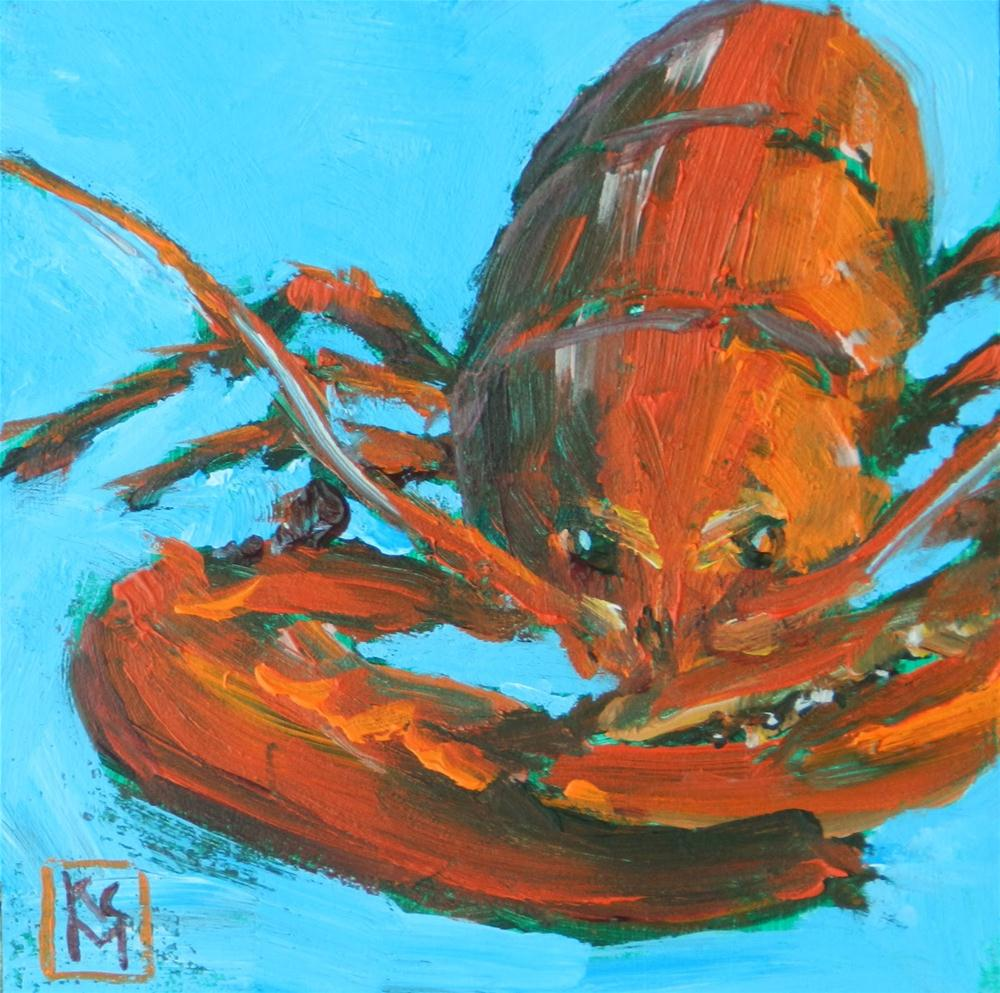 """Lobstah II, 4x4 Inch Acrylic Painting by Kelley MacDonald"" original fine art by Kelley MacDonald"