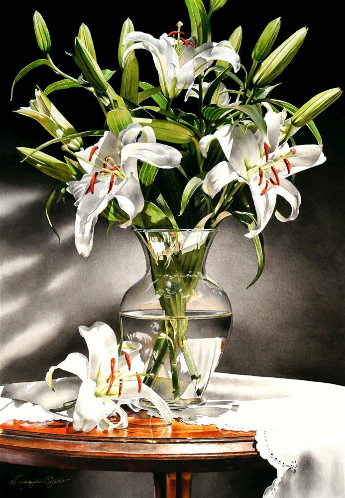 """Still Life with Lily Bouquet"" original fine art by Jacqueline Gnott, whs"