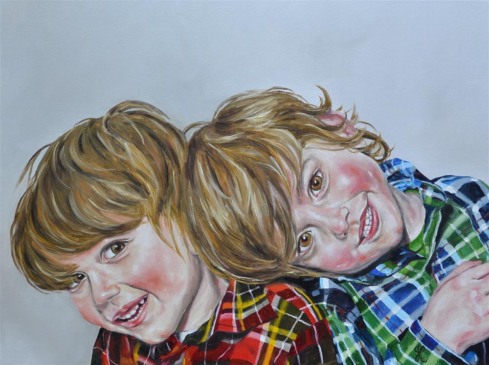 """Twin boys"" original fine art by Jacinthe Rivard"