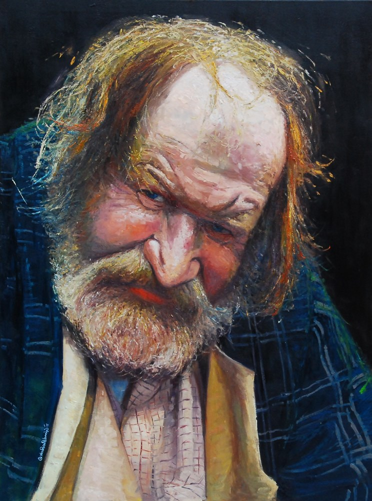 """The Face of Homelessness, Charing Cross Rd III"" original fine art by Adebanji Alade"