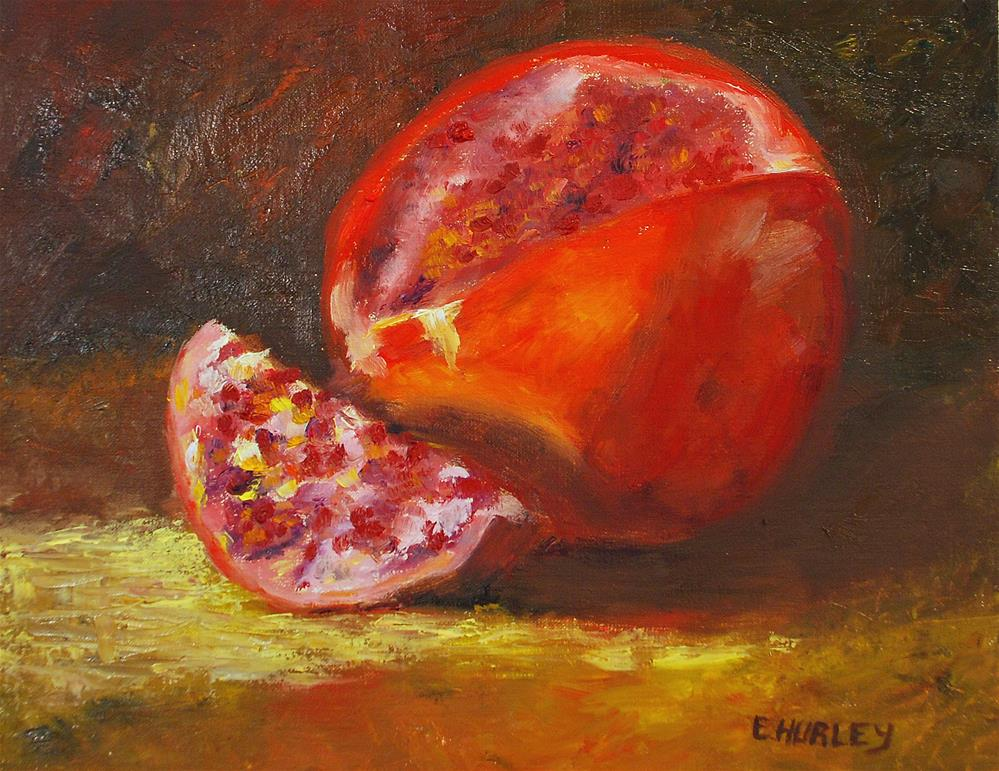 """Sliced Pomegranate"" original fine art by Ellen Hurley"