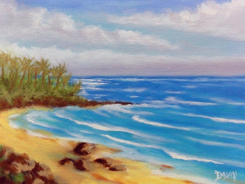 """Windward Oahu Rocky Beach"" original fine art by Dalan Wells"