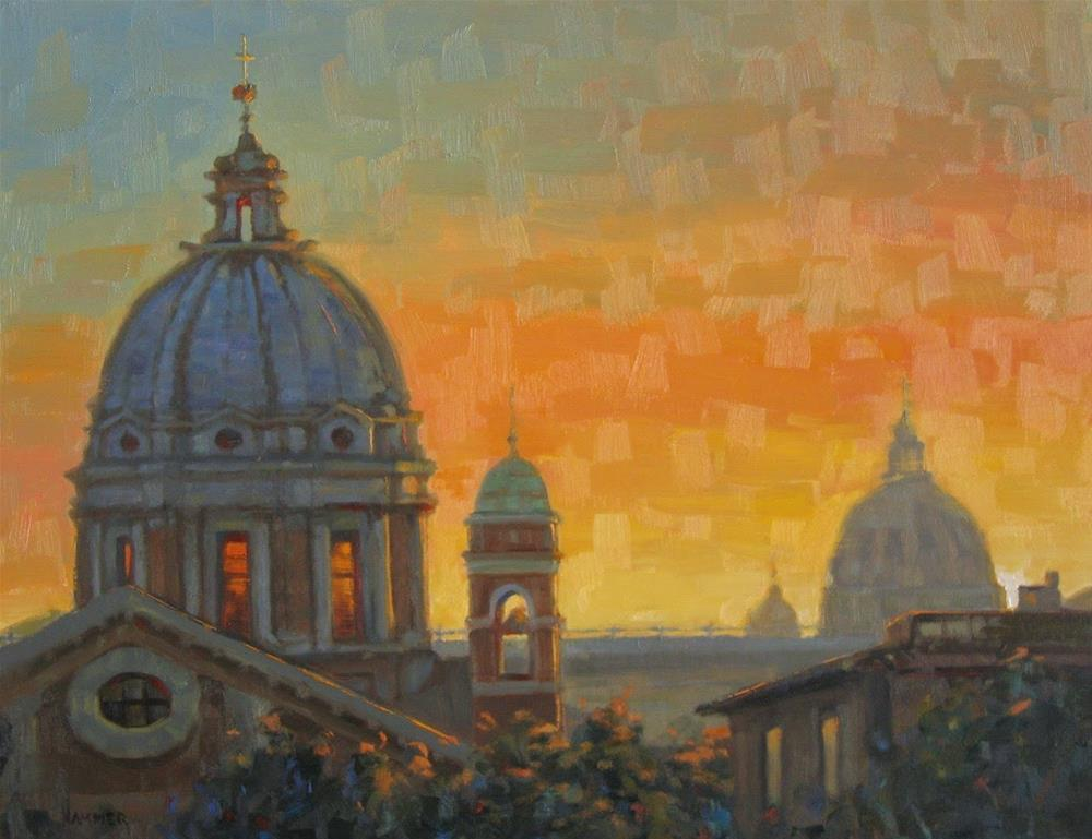 """Sunset at Vatican City 14 x 18  oil on wood panel"" original fine art by Claudia Hammer"