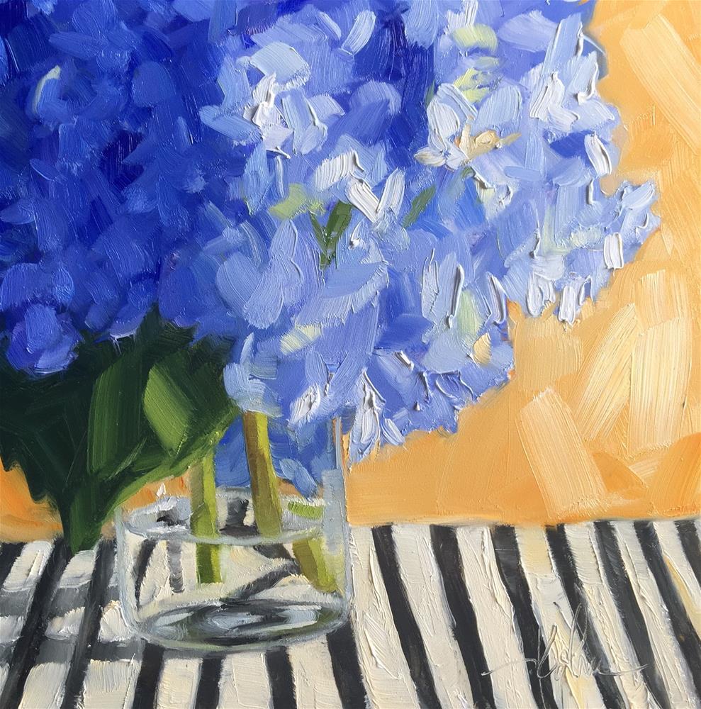"""Hydrangeas on Stripes"" original fine art by Hallie Kohn"