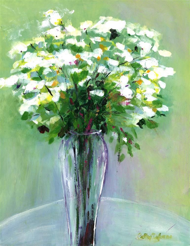 """Vase of Whites"" original fine art by Cathy Dykstra"