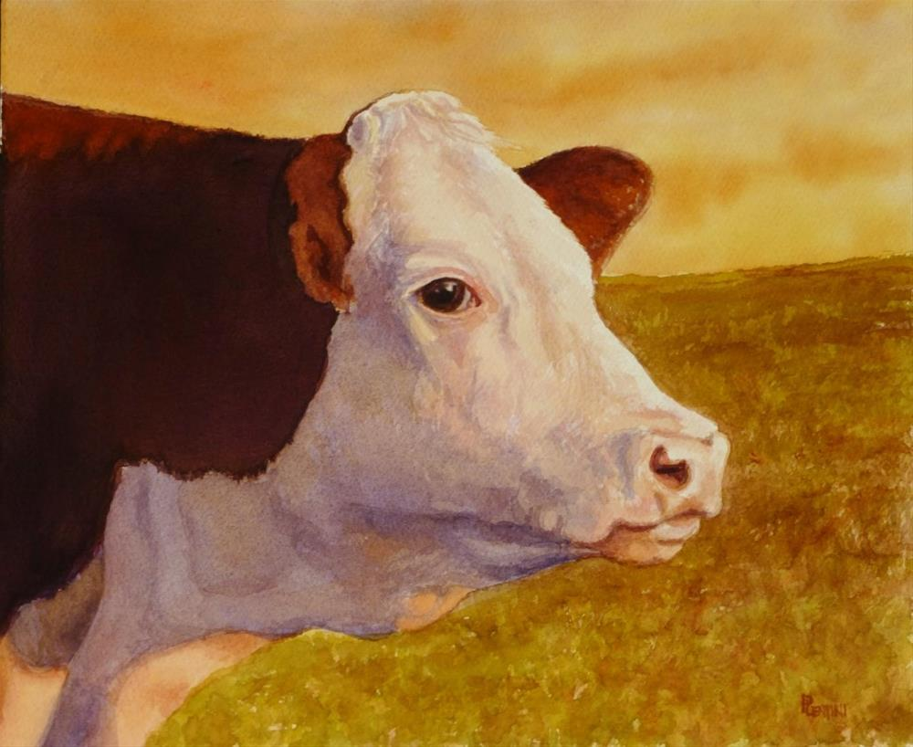 """March Evening Cow"" original fine art by Peter Lentini"