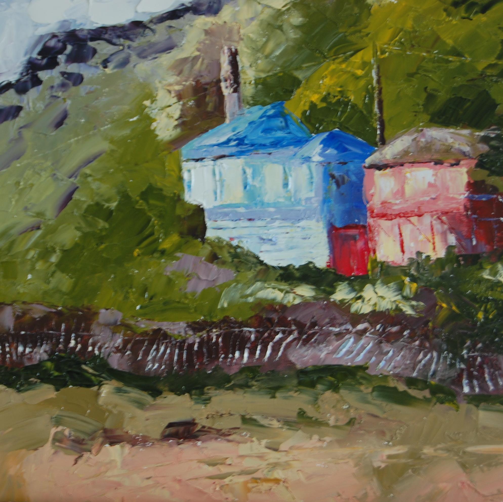 """""""Houses at Crystal Cove"""" original fine art by Deborah Harold"""